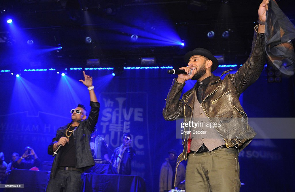 Sean Paul and Swizz Beatzl perform at VH1 Save The Music Foundation's Songwriters Music Series Remix featuring Swizz Beatz & Friends, presented by Monster DNA Headphones & William Hill Estate Winery at Hard Rock Cafe New York on January 17, 2013 in New York City.