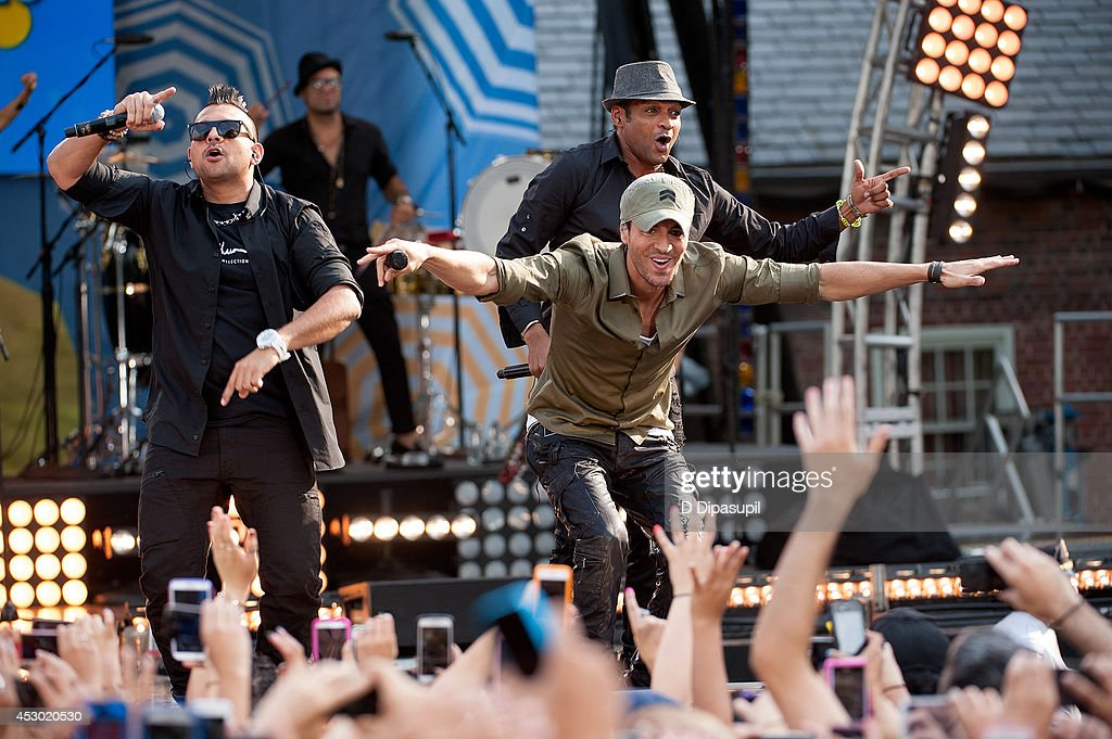 Sean Paul, Enrique Iglesias, and Descemer Bueno perform on ABC's 'Good Morning America' at Rumsey Playfield, Central Park on August 1, 2014 in New York City.