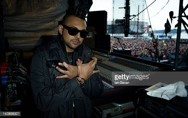 Sean Paul is pictured backstage during MTV Presents Titanic Sounds in Belfast to celebrate the Titanic Belfast attraction at Titanic Slipways on...