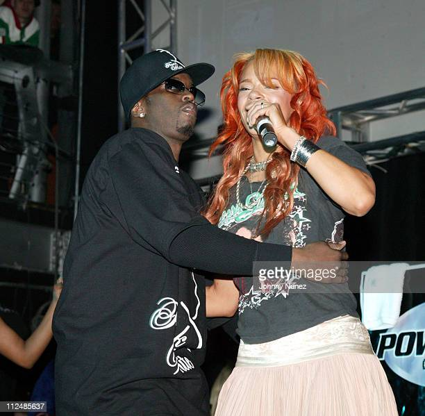 Sean 'PDiddy' Combs and Faith Evans during Power 105 FM's 3rd Anniversary Party Celebrating Notorious BIG at Exit in New York City New York United...