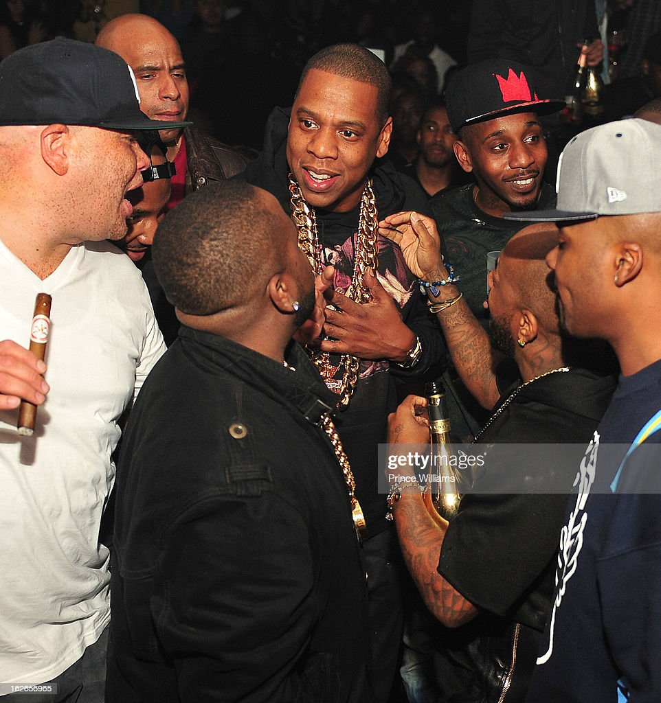 Sean Pecas, Big Boi, Jay-Z and Jermain Dupri attend the So So Def anniversary party hosted by Jay Z at Compound on February 23, 2013 in Atlanta, Georgia.