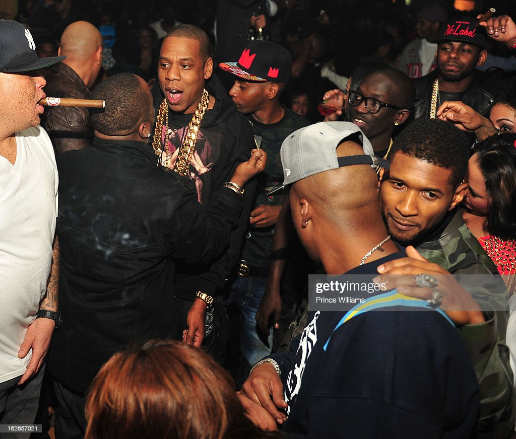 Sean Pecas, Big Boi, Jay-Z Bu Thiam, Usher and Memphis Bleek attend the So So Def anniversary party hosted by Jay Z at Compound on February 23, 2013 in Atlanta, Georgia.