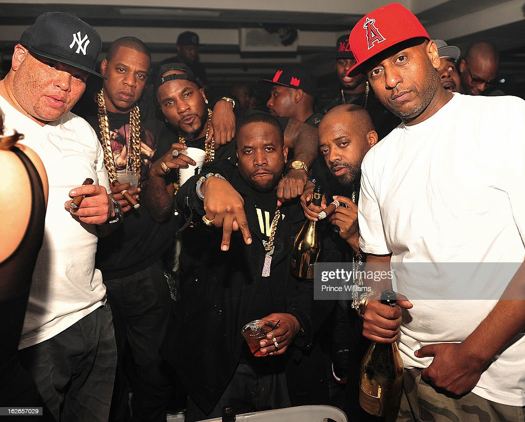 Sean Pecas, Jay-Z, Young Jeezy, Big Boi, Jermain Dupri and Alex Gidewon attend the So So Def anniversary party hosted by Jay Z at Compound on February 23, 2013 in Atlanta, Georgia.