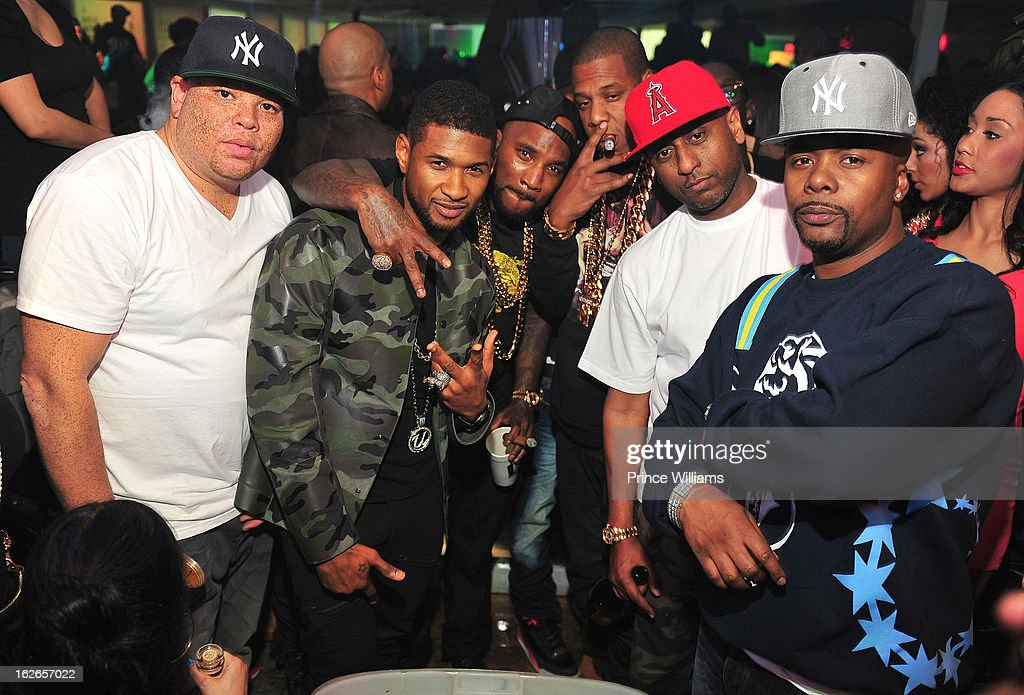 Sean Pecas, Usher, Young Jeezy, Jay-Z, Alex Gidewon and Memphis Bleek attend the So So Def anniversary party hosted by Jay Z at Compound on February 23, 2013 in Atlanta, Georgia.