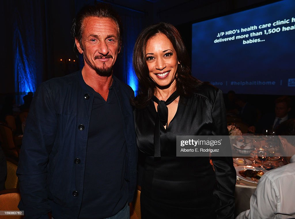 Sean Penn and Attorney General of California Kamala Harris attend the 2nd Annual Sean Penn and Friends Help Haiti Home Gala benefiting J/P HRO presented by Giorgio Armani at Montage Hotel on January 12, 2013 in Los Angeles, California.