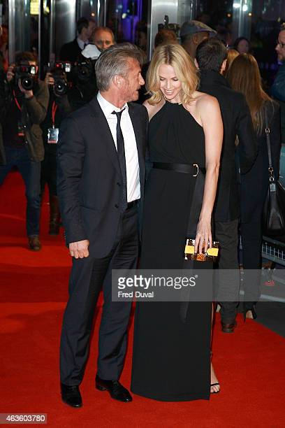 Sean Penn and Charlize Theron attend 'The Gunman'Uk Premiere at BFI Southbank on February 16 2015 in London England