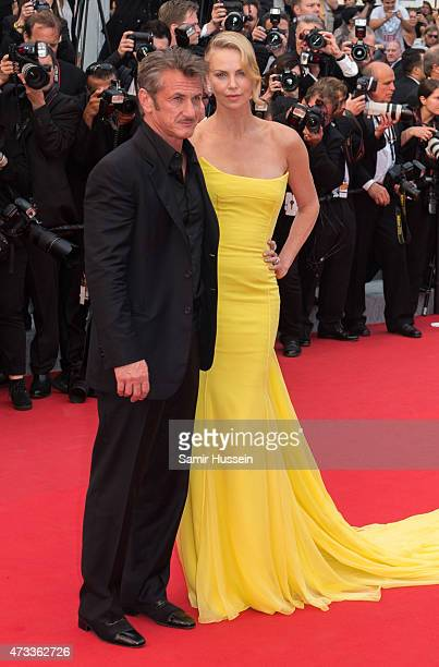 Sean Penn and Charlize Theron attend the 'Mad Max Fury Road' Premiere during the 68th annual Cannes Film Festival on May 14 2015 in Cannes France