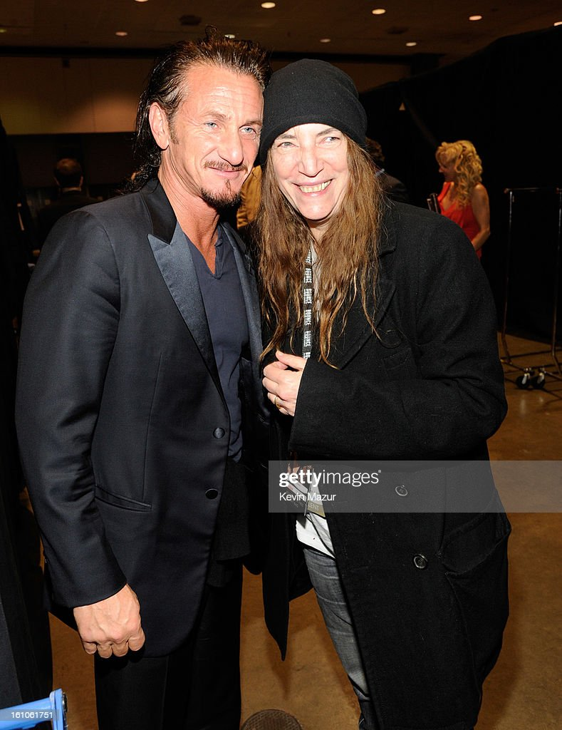 <a gi-track='captionPersonalityLinkClicked' href=/galleries/search?phrase=Sean+Penn&family=editorial&specificpeople=202979 ng-click='$event.stopPropagation()'>Sean Penn</a> and <a gi-track='captionPersonalityLinkClicked' href=/galleries/search?phrase=Patti+Smith+-+Godmother+of+Punk&family=editorial&specificpeople=221285 ng-click='$event.stopPropagation()'>Patti Smith</a> attend MusiCares Person Of The Year Honoring Bruce Springsteen at Los Angeles Convention Center on February 8, 2013 in Los Angeles, California.