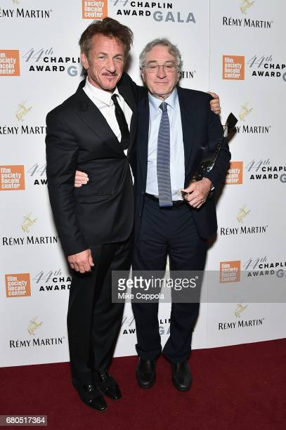 Sean Penn and Robert De Niro backstage during the 44th Chaplin Award Gala at David H Koch Theater at Lincoln Center on May 8 2017 in New York City