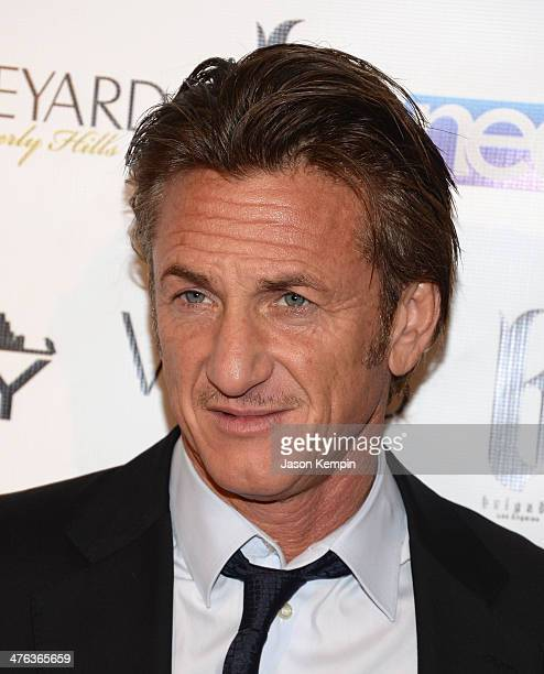 Sean Penn attends the Fame and Philanthropy PostOscar Party at The Vineyard on March 2 2014 in Beverly Hills California