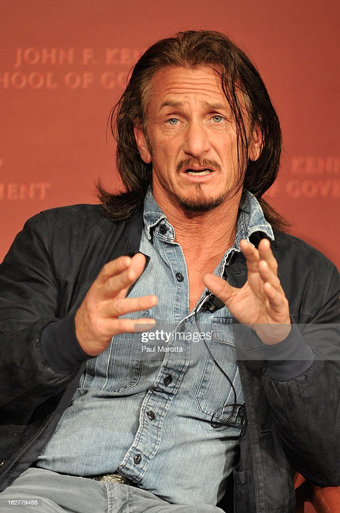 <a gi-track='captionPersonalityLinkClicked' href=/galleries/search?phrase=Sean+Penn&family=editorial&specificpeople=202979 ng-click='$event.stopPropagation()'>Sean Penn</a>, Founder, J/P Haitian Relief Organization and Ambassador at Large for Haiti, attends John F Kennedy Jr. Forum: 'Haiti Progress And Challenges Three Years Later' on February 26, 2013 in Boston, Massachusetts.