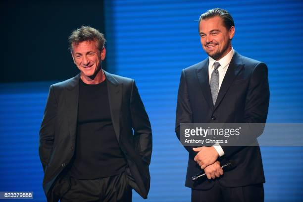 Sean Penn Leonardo DiCaprio are seen on stage the Leonardo DiCaprio Foundation 4th Annual SaintTropez Gala at Domaine Bertaud Belieu on July 26 2017...