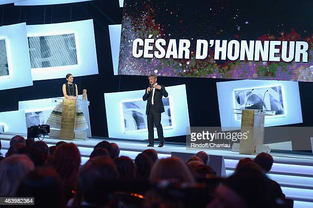Sean Penn receives from Marion Cotillard a special Cesar of Honor during the 40th Cesar Film Awards 2015 Ceremony at Theatre du Chatelet on February...