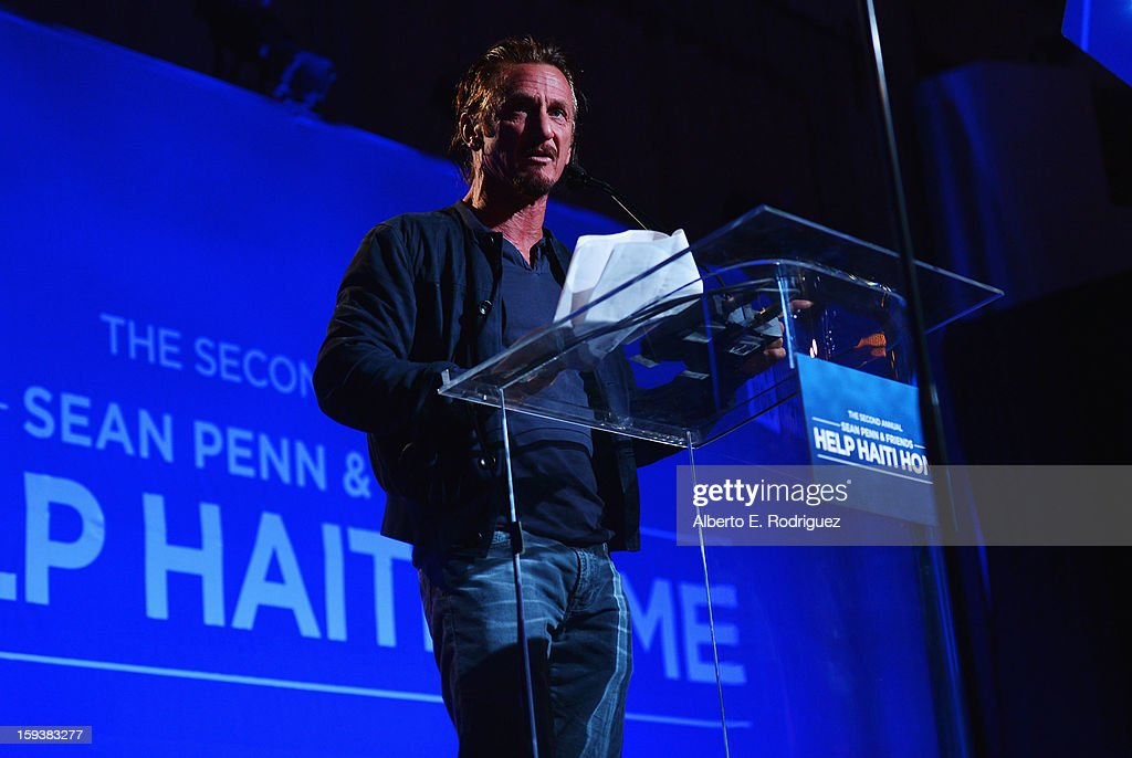 <a gi-track='captionPersonalityLinkClicked' href=/galleries/search?phrase=Sean+Penn&family=editorial&specificpeople=202979 ng-click='$event.stopPropagation()'>Sean Penn</a> speaks onstage at the 2nd Annual <a gi-track='captionPersonalityLinkClicked' href=/galleries/search?phrase=Sean+Penn&family=editorial&specificpeople=202979 ng-click='$event.stopPropagation()'>Sean Penn</a> and Friends Help Haiti Home Gala benefiting J/P HRO presented by Giorgio Armani at Montage Hotel on January 12, 2013 in Los Angeles, California.