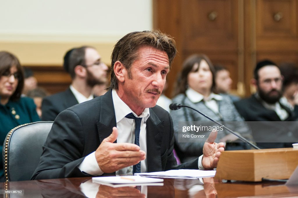 Sean Penn testifies during the Advocating for American Jacob Ostreicher's Freedom after Two Years in Bolivian Detention hearing at the Rayburn House...