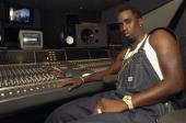Sean 'Puffy' Combs in recording studio on 44th St