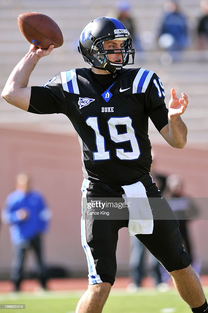 Sean Renfree #19 of the Duke Blue Devils drops back to pass against the Miami Hurricanes at Wallace Wade Stadium on November 24, 2012 in Durham, North Carolina.