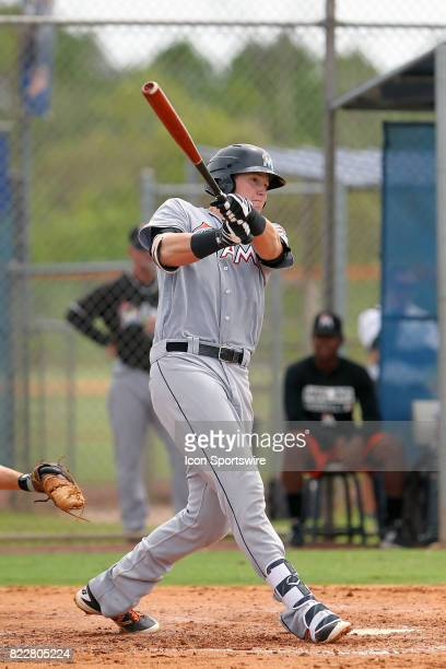Sean Reynolds of the Marlins at bat during the Gulf Coast League game between the Marlins and the Mets on July 21 at the New York Mets Minor League...
