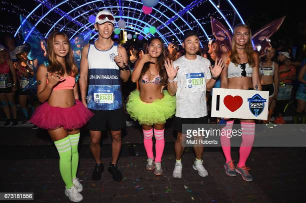 Sean Ro and Bong Joo Lee poses for a photograph during the United Airlines Guam Marathon 2017 on April 9 2017 in Guam Guam