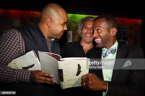 Sean Robertson Khary LazarreWhite and Rahsan Lindsay attend the Khary Lazarre White 'Passage' Book Release Party at Beautique on October 12 2017 in...