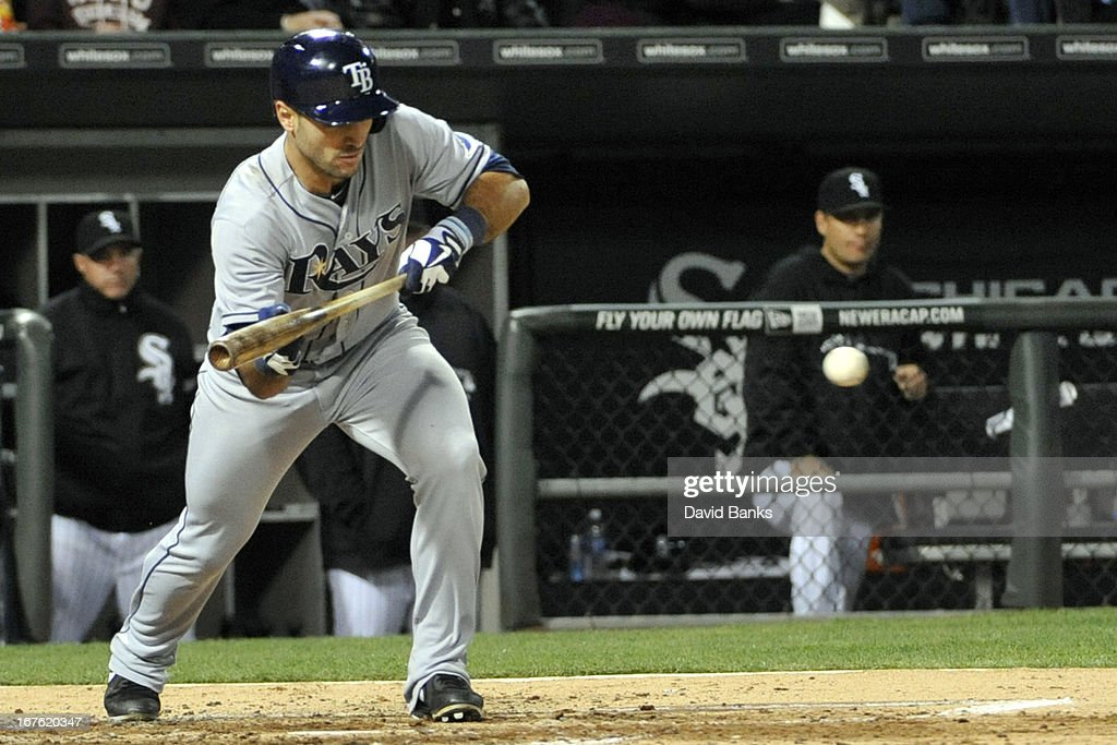 <a gi-track='captionPersonalityLinkClicked' href=/galleries/search?phrase=Sean+Rodriguez&family=editorial&specificpeople=4171805 ng-click='$event.stopPropagation()'>Sean Rodriguez</a> #1 of the Tampa Bay Rays bunts against the Chicago White Sox during the fourth inning on April 26, 2013 at U.S. Cellular Field in Chicago, Illinois.