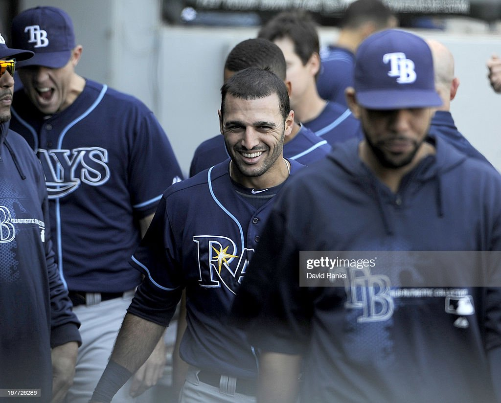 Sean Rodriguez #1 of the Tampa Bay Rays skiles after scoring against the Chicago White Sox during the eighth inning on April 28, 2013 at U.S. Cellular Field in Chicago, Illinois.