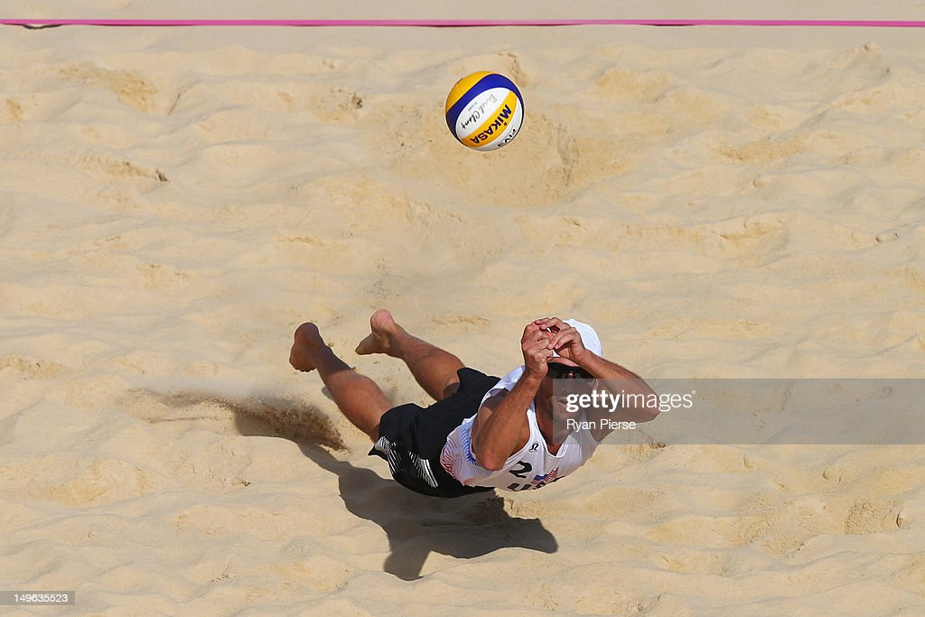 Sean Rosenthal of the United States dives for the ball during the Men's Beach Volleyball preliminary match between the United States and Latvia on Day 5 of the London 2012 Olympic Games at Horse Guards Parade on August 1, 2012 in London, England.