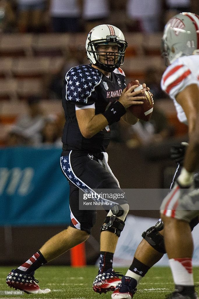 Sean Schroeder #19 of the Hawaii Warriors looks for an open receiver during a NCAA college football game between the UNLV Rebels and the Hawaii Warriors on November 24, 2012 at Aloha Stadium in Honolulu, Hawaii.