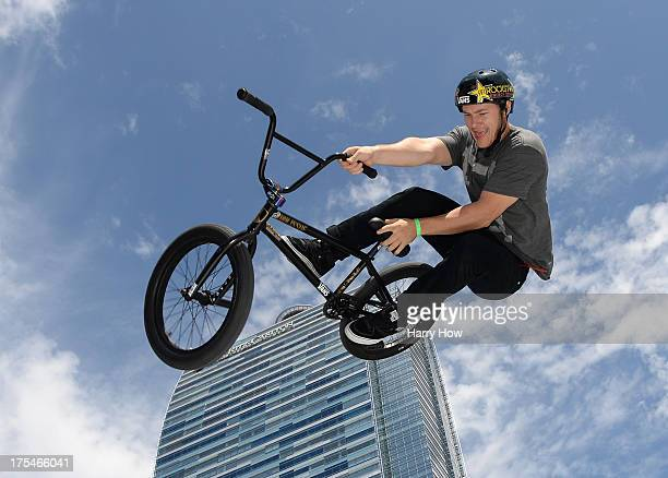 Sean Sexton competes in the BMX Steet Final during X Games Los Angeles at the Event Deck at L A Live on August 3 2013 in Los Angeles California