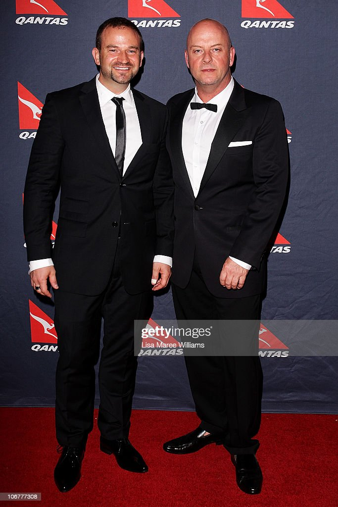 <a gi-track='captionPersonalityLinkClicked' href=/galleries/search?phrase=Sean+Simpson&family=editorial&specificpeople=4607563 ng-click='$event.stopPropagation()'>Sean Simpson</a> and Peter Morrissey arrive at Qantas's 90th anniversary gala dinner at the Qantas Sydney jet base on November 12, 2010 in Sydney, Australia.