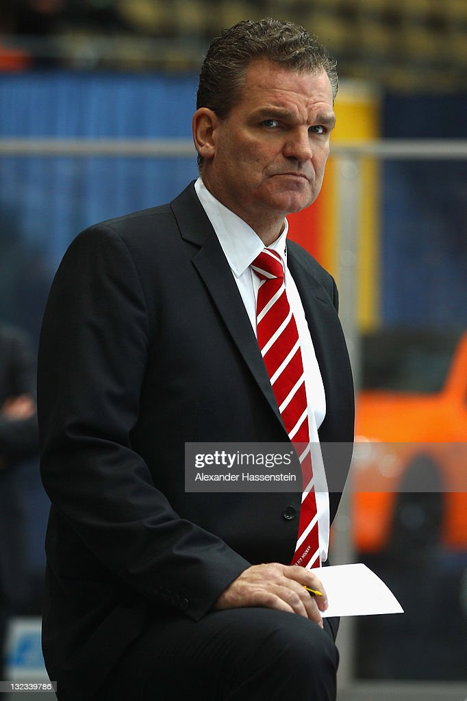 <a gi-track='captionPersonalityLinkClicked' href=/galleries/search?phrase=Sean+Simpson&family=editorial&specificpeople=4607563 ng-click='$event.stopPropagation()'>Sean Simpson</a>, head coach of Switzerland looks on during the German Ice Hockey Cup 2011 first round game between Germany and Switzerland at Olympiahalle on November 11, 2011 in Munich, Germany.