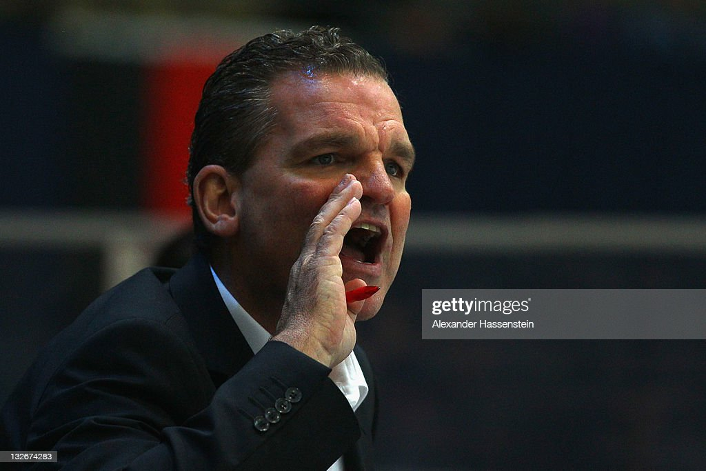 <a gi-track='captionPersonalityLinkClicked' href=/galleries/search?phrase=Sean+Simpson&family=editorial&specificpeople=4607563 ng-click='$event.stopPropagation()'>Sean Simpson</a>, head coach of Switzerland reacts during the 5th match of the German Ice Hockey Cup 2011 between Slovakia and Switzerland at Olympiahalle on November 13, 2011 in Munich, Germany.