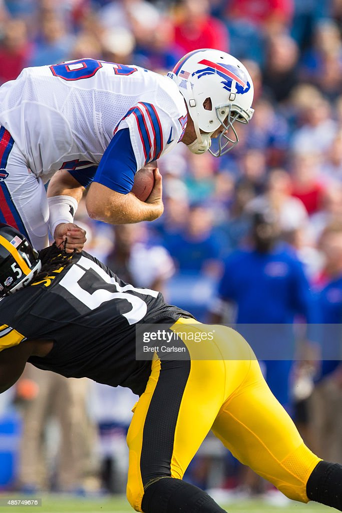 Sean Spence #51 of the Pittsburgh Steelers tackles Matt Cassel #16 of the Buffalo Bills during the first half of a preseason game on August 29, 2015 at Ralph Wilson Stadium in Orchard Park, New York.
