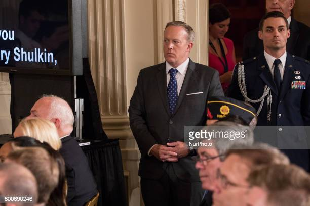 Sean Spicer White House Press Secretary was present for President Donald Trump's signing of the Department of Veterans Affairs Accountability and...