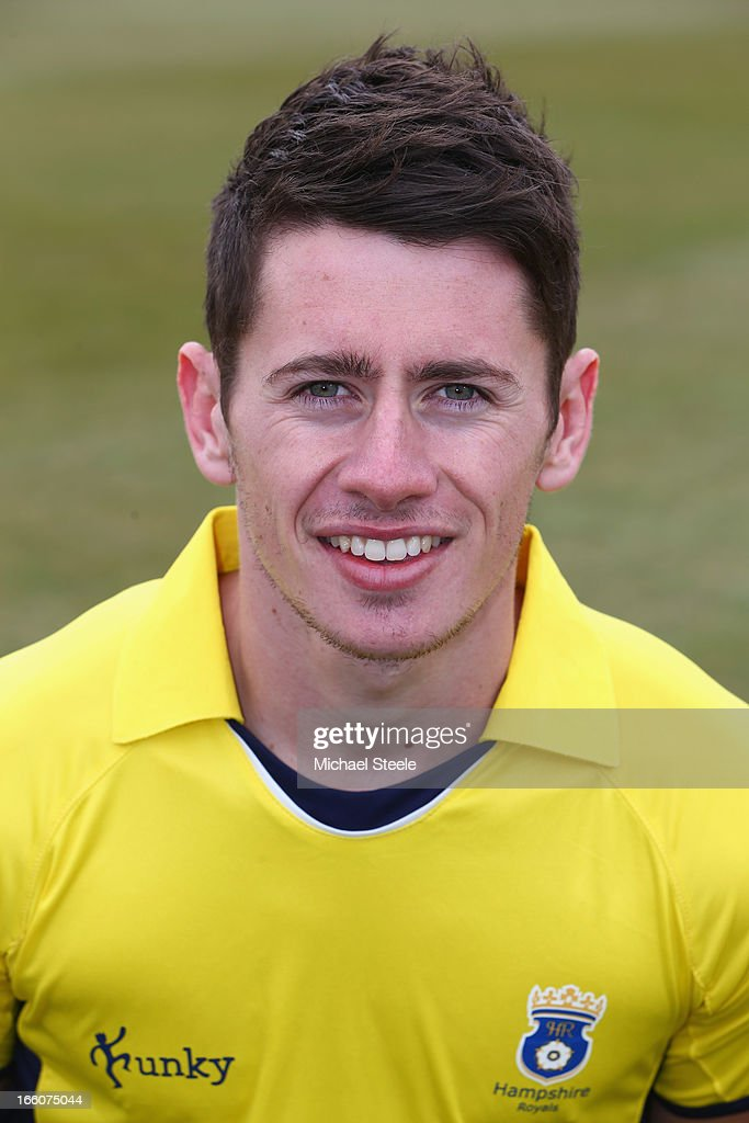 Sean Terry of Hampshire wearing the Yorkshire Bank 40 Over kit during the Hampshire CCC photocall at The Ageus Bowl on April 8, 2013 in Southampton, England.