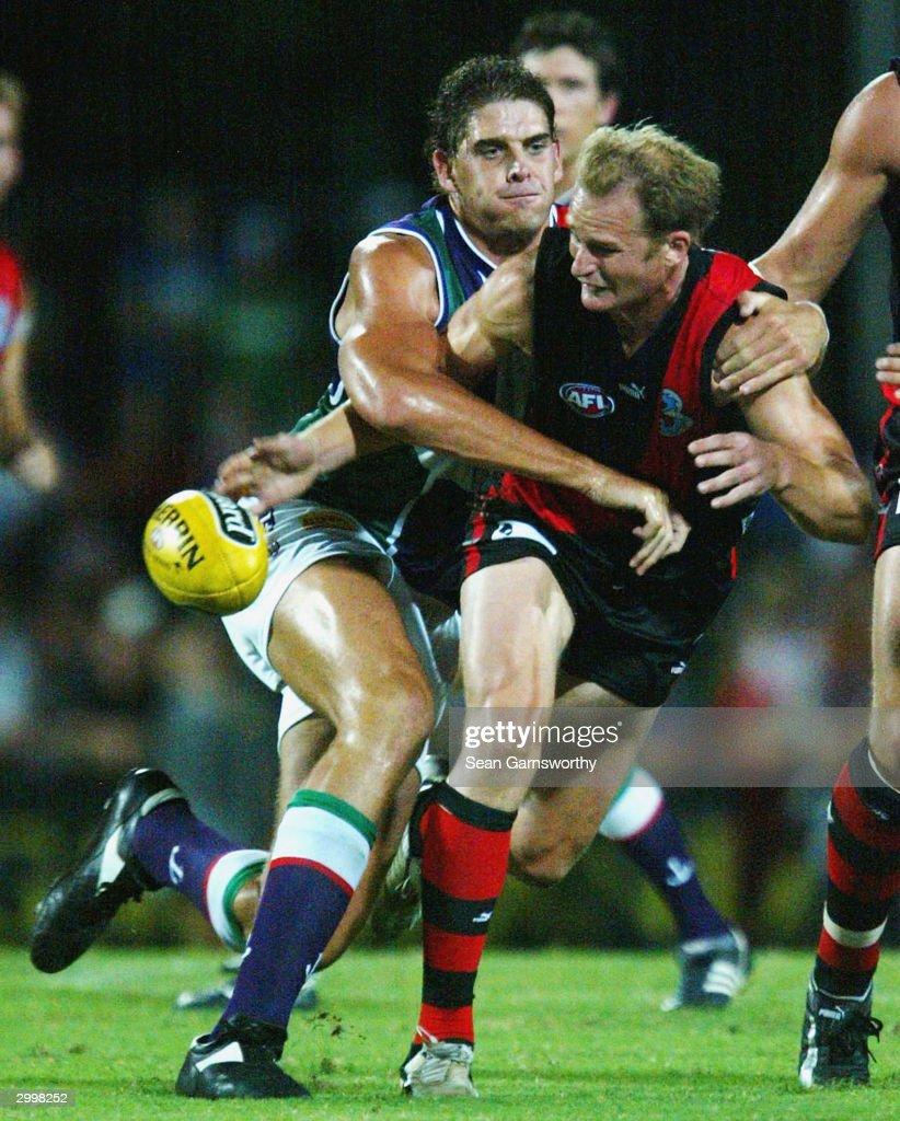 Sean Wellman for Essendon and Aaron Sandilands for Fremantle in action during the AFL Wizard Cup match between the Essendon Bombers and Fremantle...