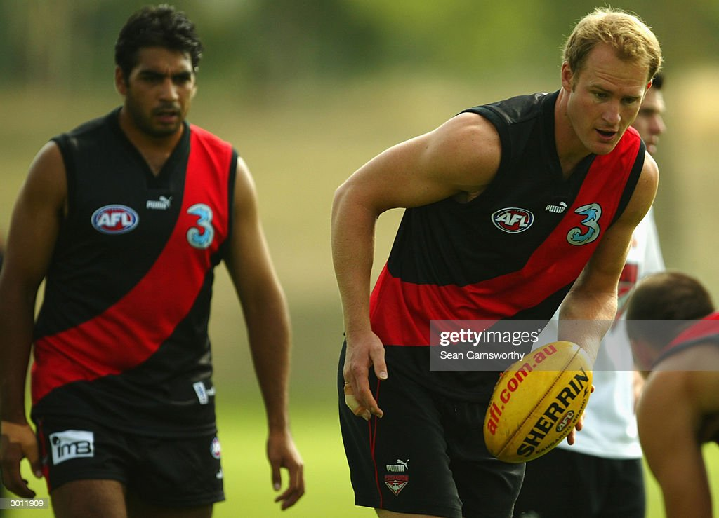 Sean Wellman of Essendon in action during an Essendon Bombers training session held at LaTrobe University February 25 2004 in Melbourne Australia