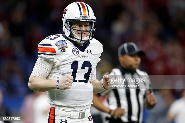 Sean White of the Auburn Tigers reacts after a pass against the Oklahoma Sooners during the Allstate Sugar Bowl at the MercedesBenz Superdome on...