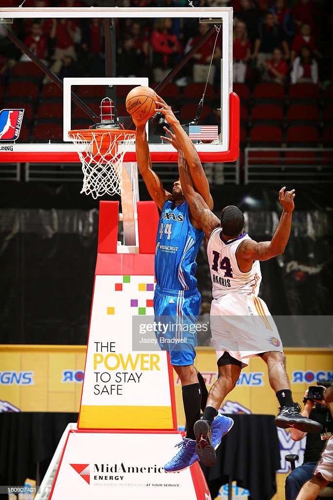 Sean Williams #44 of the Texas Legends dunks against Paul Harris #14 of the Iowa Energy in the NBA D-League game on February 7, 2013 at the Wells Fargo Arena in Des Moines, Iowa.