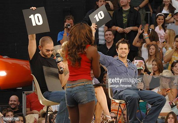 Seann William Scott and Johnny Knoxville during The Cast of 'The Dukes of Hazzard' Visit MuchMusic Studios July 31 2005 at MuchMusic Studios in...