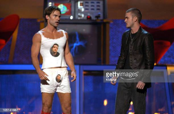 Seann William Scott with Justin Timberlake during 2003 MTV Movie Awards Show at The Shrine Auditorium in Los Angeles California United States