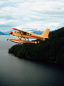 Seaplane flying near Ketchikan, Alaska, USA