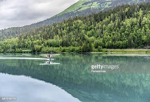 Seaplane landing, Moose Pass, Alaska, USA