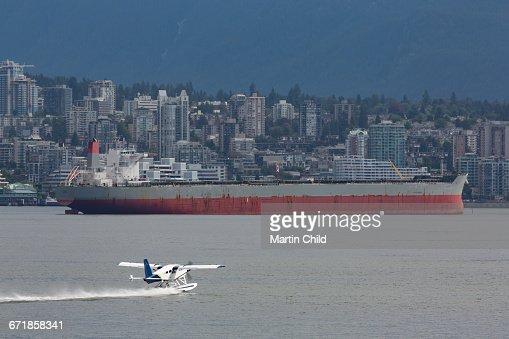 Seaplane landing near Vancouver