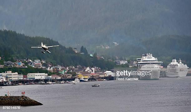 A seaplane prepares to land in Ketchikan Alaska