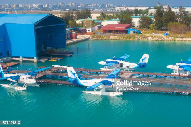 Seaplanes at the Seadrome of Malé International Airport on February 23 2017 in Male Maldives