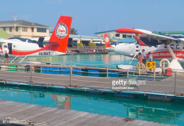 Seaplanes of Trans Maldivian Airways at the Seadrome of Malé International Airport on February 23 2017 in Male Maldives