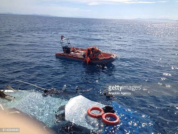 A search and rescue operation is carried out after a boat carrying refugees sank in the Aegean Sea off Turkey's western province of Aydin on March 6...