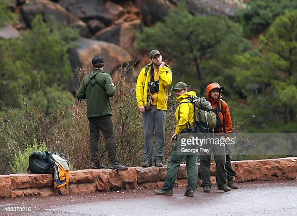 Search and rescue personal finish their day of searching Pine Creek in Zion's National Park for lost hikers on September 15 2015 in Springdale Utah...