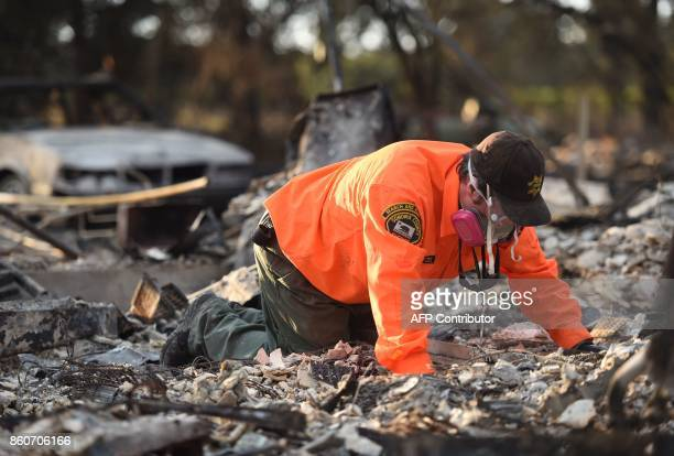 Search and rescue team members search for bodies at a property where a person was reported missing in Santa Rosa California on October 12 2017...